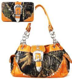 Western Orange Camouflage Buckle Rhinestone Purse W Matching Wallet - Handbags, Bling & More!