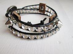 spike-leather rock style wrap bracelet by So cliché jewelry  https://www.facebook.com/soclichejewelry