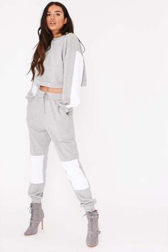 Order the Grey Contrast Panel Joggers from In The Style. Gold Jumpsuit, Girls Sportswear, Joggers Outfit, Girl Fashion, Fashion Outfits, Cute Girl Photo, Sporty Outfits, Two Piece Outfit, Gym Wear