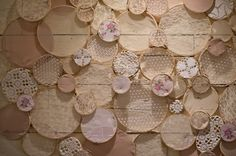 Handmade Embroidery Hoop Wall {the bridal shower attendee's created it!}