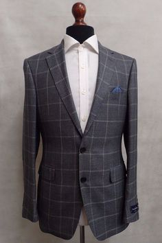 Men's Ermenegildo Zegna Suit Jacket Blazer Tailored Fit Grey Window Pane SS8047  | eBay