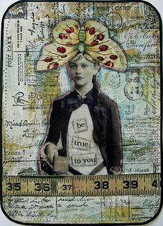 collage card-great collection of cards and other found object art/crafts collage with lace, buttons, type, embroidery, nice!