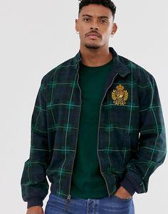Polo Ralph Lauren crest badge logo tartan check harrington jacket in navy/green at ASOS. Asos, Polo Ralph Lauren, Harrington Jacket, Badge Logo, Navy And Green, Tartan, Preppy, Fitness Models, Polo Shirt