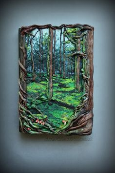 "Artystyczne Wariacje: ""Mystical forest book""polymer clay notebook cover"