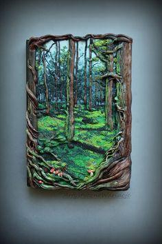 "Artystyczne Wariacje: ""Mystical forest book""polymer clay notebook cover"