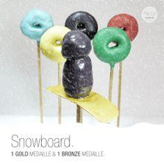 Snowboard Cake Pop Snowboard Cake, Cake Pops, Bronze, Food Themes, Snowboarding, Sport, Cool Stuff, Gold, Biathlon