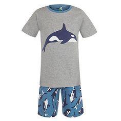 Buy John Lewis Boy Short Sleeve Killer Whale Print Pyjamas, Grey/Blue Online at johnlewis.com