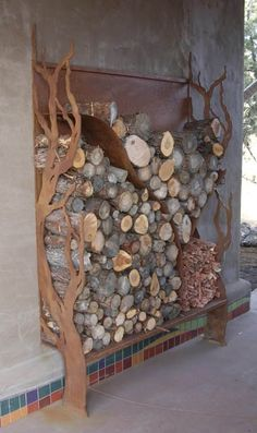 Built-in wood storage near outside fire pit