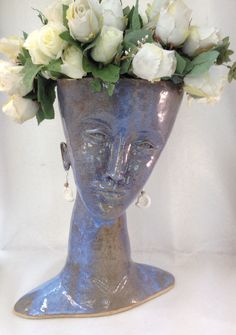 Blue head with flowers Ceramic Plant Pots, Ceramic Clay, Ceramic Pottery, Ceramic Figures, Ceramic Artists, Head Planters, Bazaar Crafts, Bottle Art, Handmade Pottery