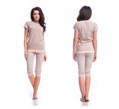 Damen Schlafanzug set Pyjama Caprihose Hausanzug Nachtwäsche Baumwolle S M L XL