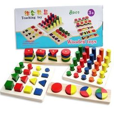 (38.73$)  Watch here - http://ai4bg.worlditems.win/all/product.php?id=1482963876 - Delivery is free, children's makeup, geometric building blocks,montessori teaching AIDS, 8 sets, wooden toys, educational toys