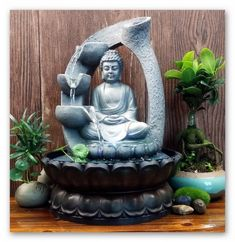 Buddha Fountain Indoor Zen Meditation Relaxation Home Decor Water Running light #worldwidemark3tFountain
