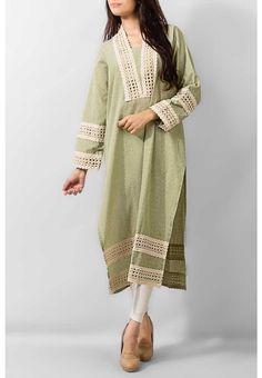 Green Ladies Cotton Kurta $44.99 KURTI Pakistani Indian Dresses Online, Men Women Clothing and Shoes | PakRobe.com