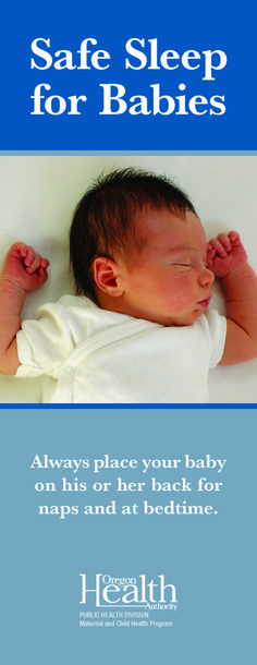 Safe sleep for babies, by the Oregon Health Authority, Maternal and Child Health Section