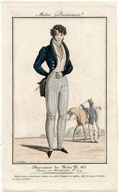 This man's ensemble is made extra-snazzy with the addition of striped trousers and a striped cravat. From the Observateur des Modes fashion magazine, 1823.