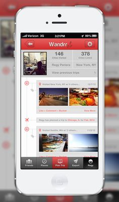 Wandrr_full_view Iphone Ui, Mobile Ui, Data Visualization, Trip Planning, How To Plan, Flat Design, City, Apps, Travel