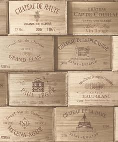 Good looking wine crates design. Original wine crates come with vintage wine crates. Hardwood wine crates with country wine storages. Damput home interior design ideas Quirky Wallpaper, Wooden Wallpaper, Vinyl Wallpaper, Wooden Wine Boxes, Wooden Crates, Galerie Wallpaper, Xxl Poster, Wine Case, French Wine