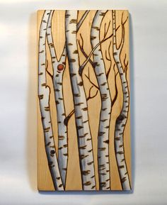 Woodburning Art, Pyrography, Birch/Aspen Tree Landscape Abstract Acrylic Accents
