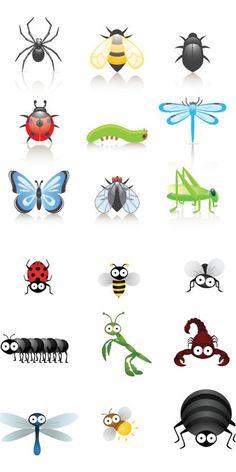Cartoon+Bugs+Clip+Art   Cute cartoon insects vector   Vector Graphics & Vector Illustrations