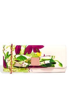 Ted Baker Floom Floral Printed Shell Pink Clutch Bag