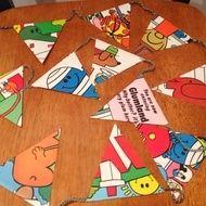 Upcycled Mr Men book pages as bunting