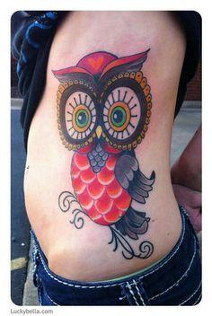 cutesy owl by Brooke Cook: Tattoo Inspiration - Worlds Best Tattoos Glow Tattoo, I Tattoo, Body Tattoos, Tree Tattoos, Tatoos, Owl Tat, Skin Candy, Worlds Best Tattoos, Friend Tattoos