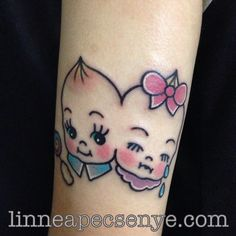 Two headed Kewpie Tattoo in Melanie Martinez. By Linnea Pecsenye @linneatattoos in Asheville, NC