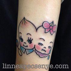 Two headed Kewpie Tattoo in Melanie Martinez. By Linnea Pecsenye @linneatattoos in Asheville, NC