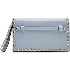 Valentino Rockstud Leather Clutch ($1,070) ❤ liked on Polyvore featuring bags, handbags, clutches, purses, sac, blue, blue studded purse, real leather purses, blue leather purse and blue leather handbag