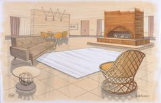 Concept Art, Parr Home Living Room, The Incredibles, 2004