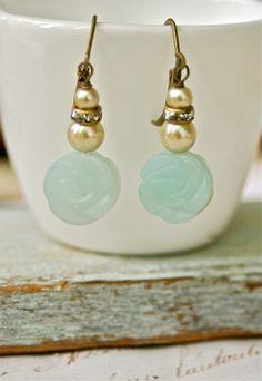 Hannah.romantic gemstone pearl dangle earrings. by tiedupmemories, $19.00