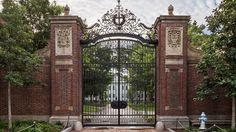 The Johnston Gate, on the edge of Harvard Square, Cambridge, Massachusetts. Harvard Yard lies beyond. Photograph by Tom M. Harvard Yard, Harvard Square, Front Gates, Harvard University, Law School, Beautiful Architecture, Fraternity, Building Design, School Design