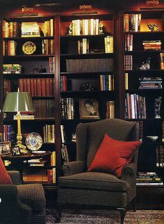There is something about this cold weather that has me dreaming of a cozy library, especially a library with a fire. Cozy Library, Dream Library, Library Art, Living Spaces, Living Room, Home Libraries, Bookshelves, Bookshelf Ideas, Home Office