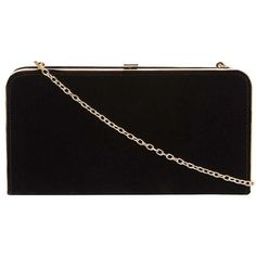 Dorothy Perkins Black Velvet Box Clutch Bag ($39) ❤ liked on Polyvore featuring bags, handbags, clutches, black, dorothy perkins, velvet clutches, chain handle handbags, hardcase clutch and structured handbags