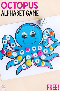 This octopus alphabet game is perfect for an ocean theme. Develop fine motor skills while learning letters when you play this fun game!