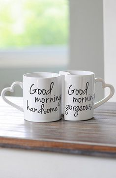 CATHY'S CONCEPTS 'Good Morning' Ceramic Coffee Mugs (Set of 2) available at #Nordstrom