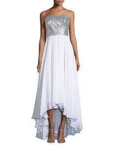 Layne Strapless Sequin-Bodice Combo Gown, Platinum/White by Milly at Neiman Marcus Last Call.