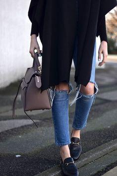 Black Cardigan, ripped skinny jeans, Céline bag, loafers