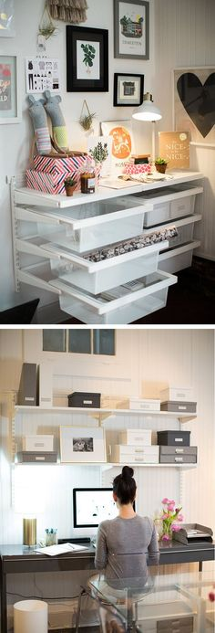 Container store home office ideas.