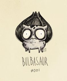 "Hatboy. Bulbasaur #001. ""Pokemon if they were created by Tim Burton"""