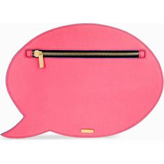Speech bubble clutch ($38) ❤ liked on Polyvore featuring bags, handbags, clutches, pink, pochette, purse, leather clutches, real leather handbags and pink handbags