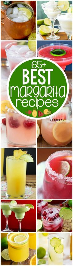 More than 65 of the BEST Margarita Recipes on the internet!! Pick your favorite for any summer party: strawberry, mango, lemon, frozen...and so many more margaritas!