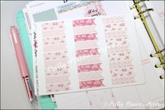 Shabby Chic Planner Flags #3 Planner Stickers for Erin Condren Life Planner & Happy Planner
