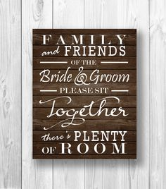 Please Sit Together Sign  DIY Family and by BirdcageInvitations