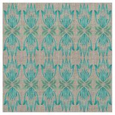 Lotus Block Zen Print Natural Linen Fabric