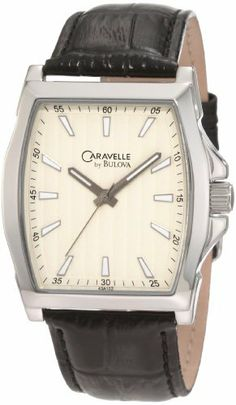 Caravelle by Bulova Men's 43A102 Leather strap Watch Caravelle by Bulova. $56.00. Water resistant to 30 meters. Curved mineral crystal. Off white dial. Leather strap. Quartz movement. Save 44%!