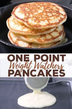 This healthy pancake recipe is going to become a family favorite, whether you're on Weight Watchers or not. Each fluffy pancake has just one SmartPoint—and no banana! Watcher Breakfast One Point Healthy Pancake Recipe Weight Watcher Desserts, Petit Déjeuner Weight Watcher, Pancakes Weight Watchers, Plats Weight Watchers, Weight Watchers Meal Plans, Weigh Watchers, Weight Watchers Snacks, Weight Watchers Breakfast, Weight Watchers Waffle Recipe