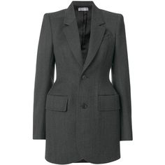 Balenciaga Hourglass sculpted blazer (€2.030) ❤ liked on Polyvore featuring outerwear, jackets, blazers, balenciaga, blazer, grey, grey blazer, structure jacket, peplum blazers and grey peplum jacket