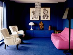 Rich Blue and Pink Interior Decorating, Paint Colors and Modern ...