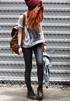 I went shopping today and I feel punk rock #leather backpacks -  graphic shirts…